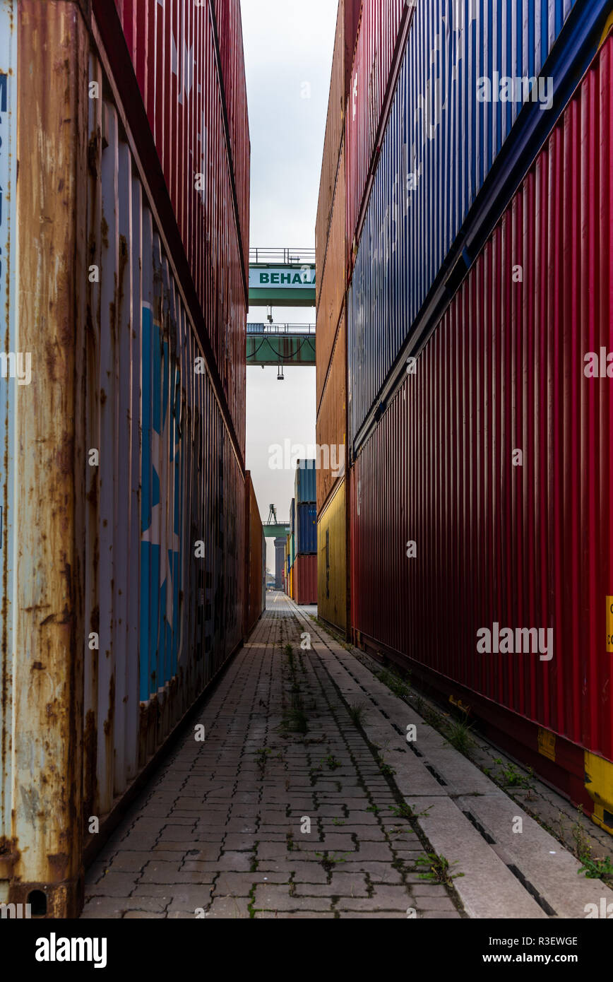 BERLIN, GERMANY - NOVEMBER 5, 2018: Railway containers and other rolling stock at the Berlin Westhafen port Stock Photo