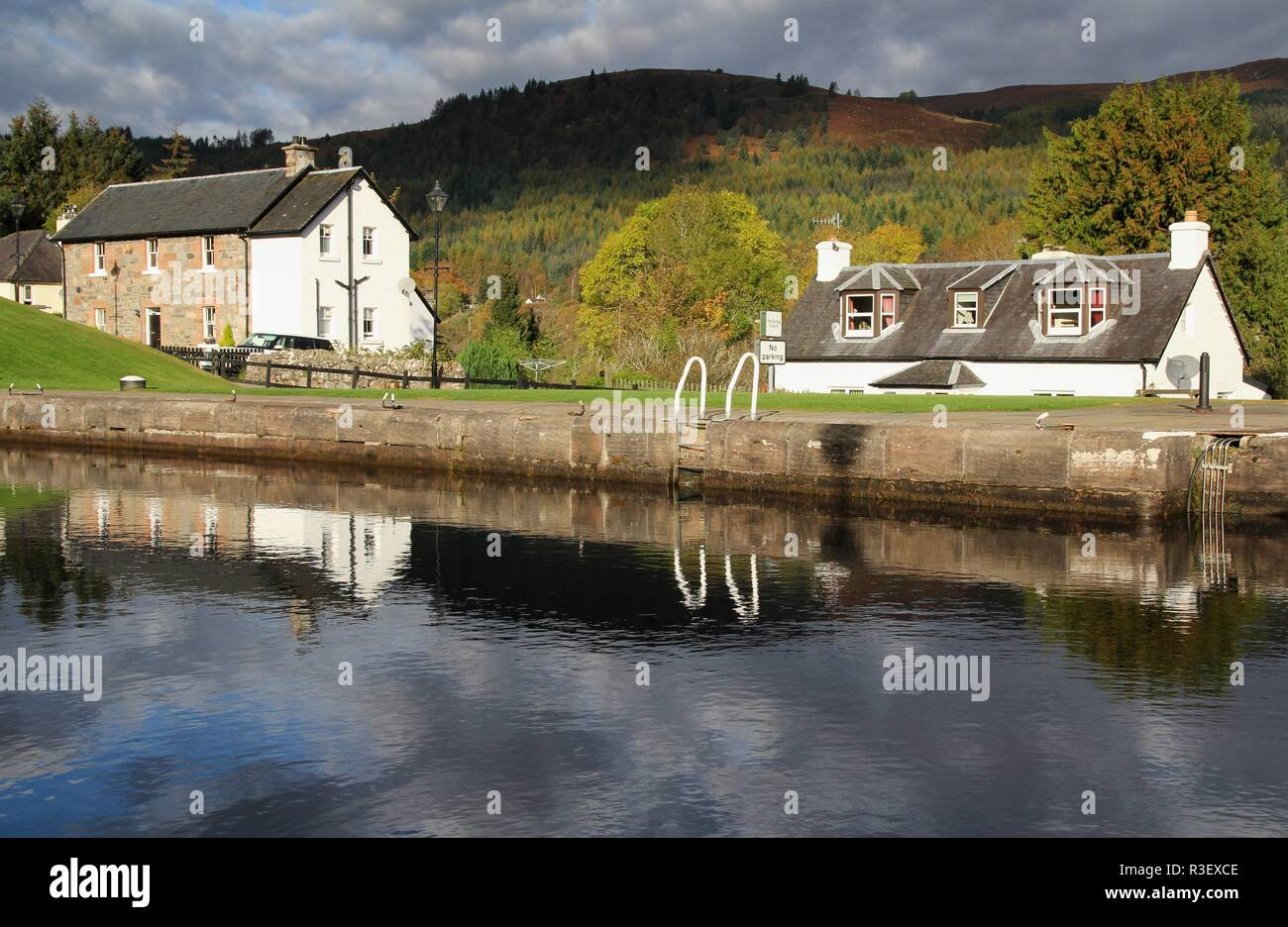 on the caledonian canal Stock Photo