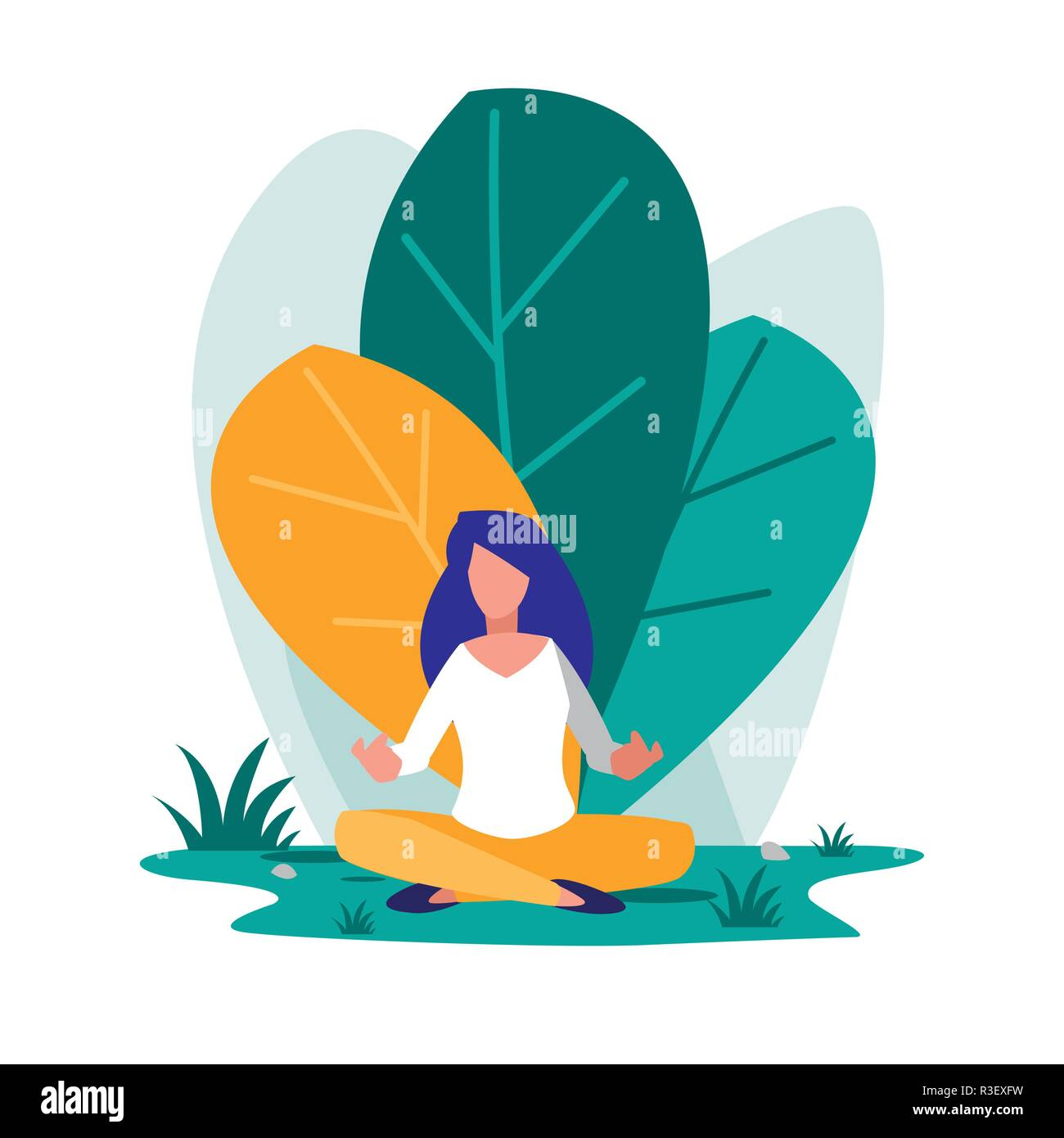 young woman sitting in the landscape vector illustration design - Stock Image