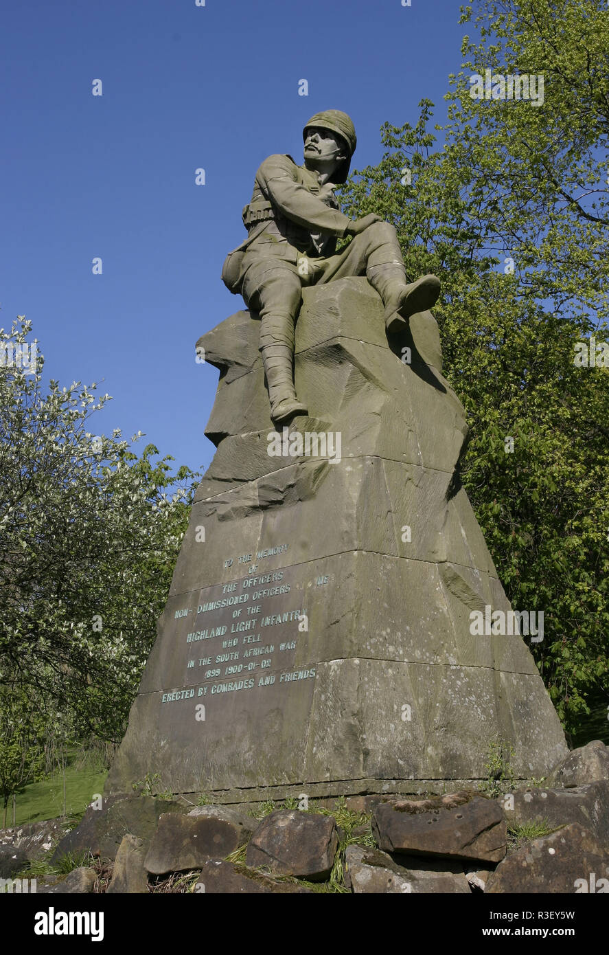 This grand war memorial is dedicated to the memory of all the non-commissioned officers of the Highland Light Infantry who fought, and died, in the South African War in 1899. The memorial is in Kelvingrove park in Glasgow, Scotland. - Stock Image