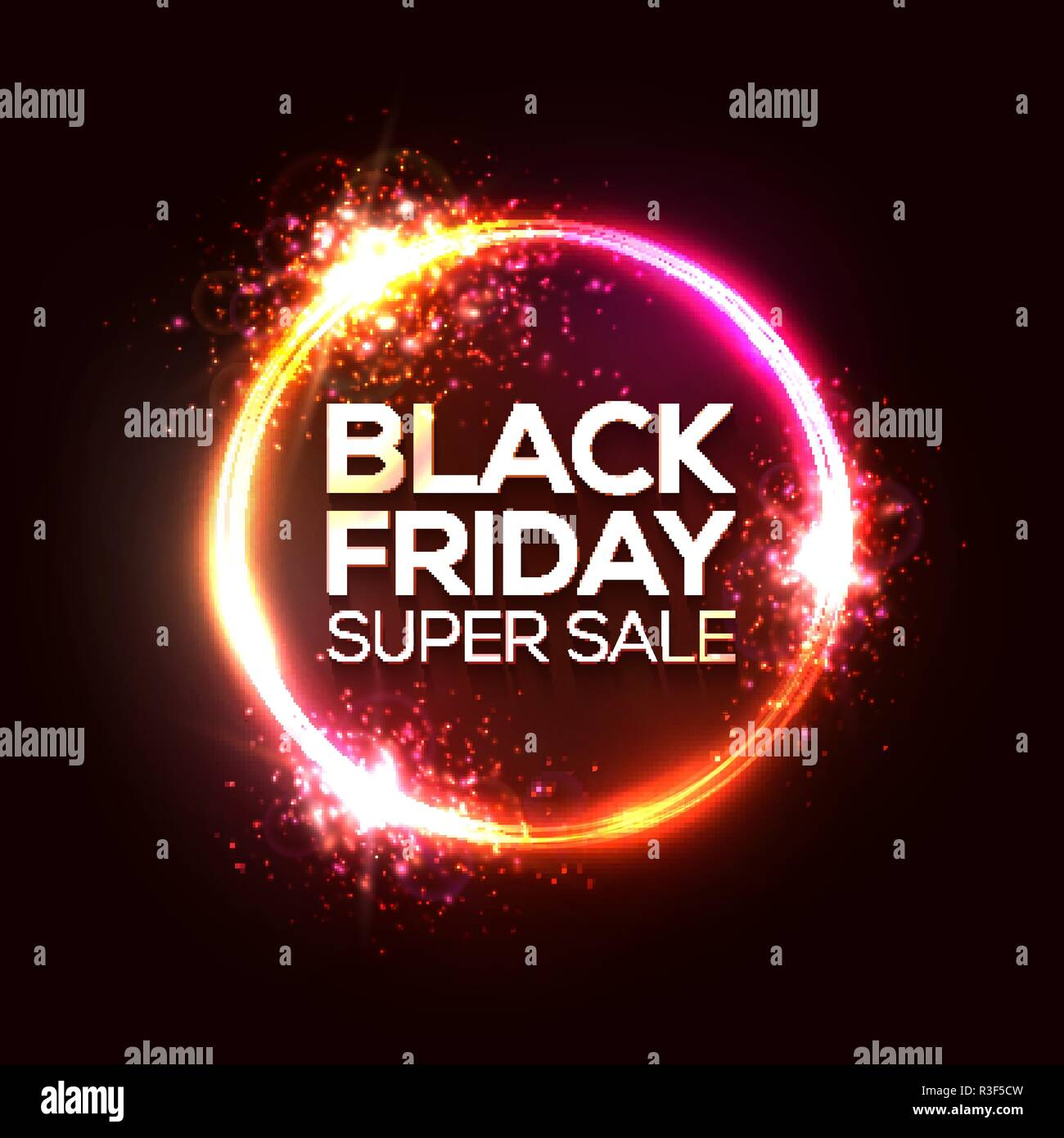 94af0c2aa9 Black Friday sale banner or flyer in neon circle logo. Electrical  technology promotion abstract background. Black Friday design. Pink red  round tube with ...