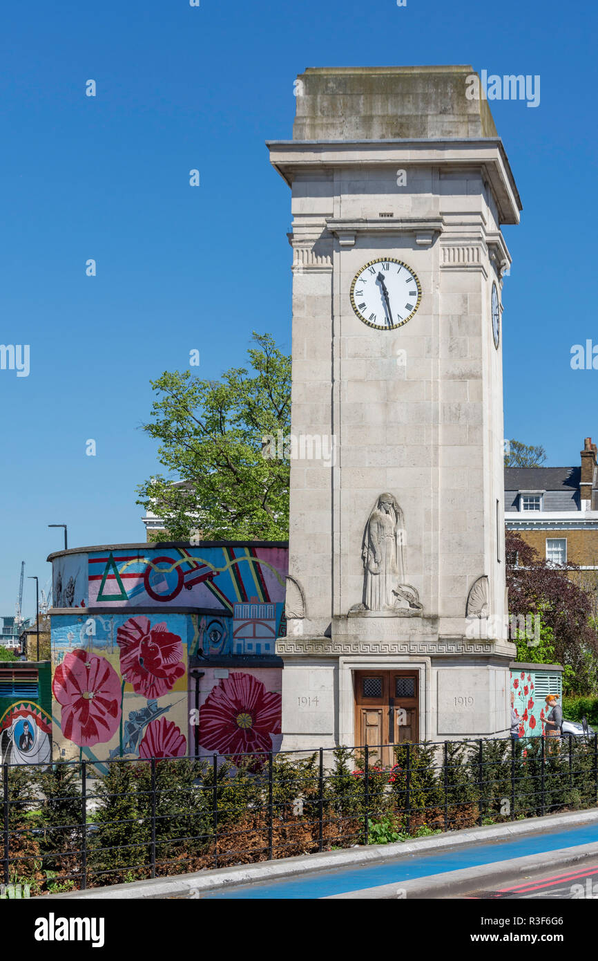 Stockwell War Memorial Clocktower and air-raid shelter, Clapham Road, Stockwell, London Borough of Lambeth, Greater London, England, United Kingdom - Stock Image