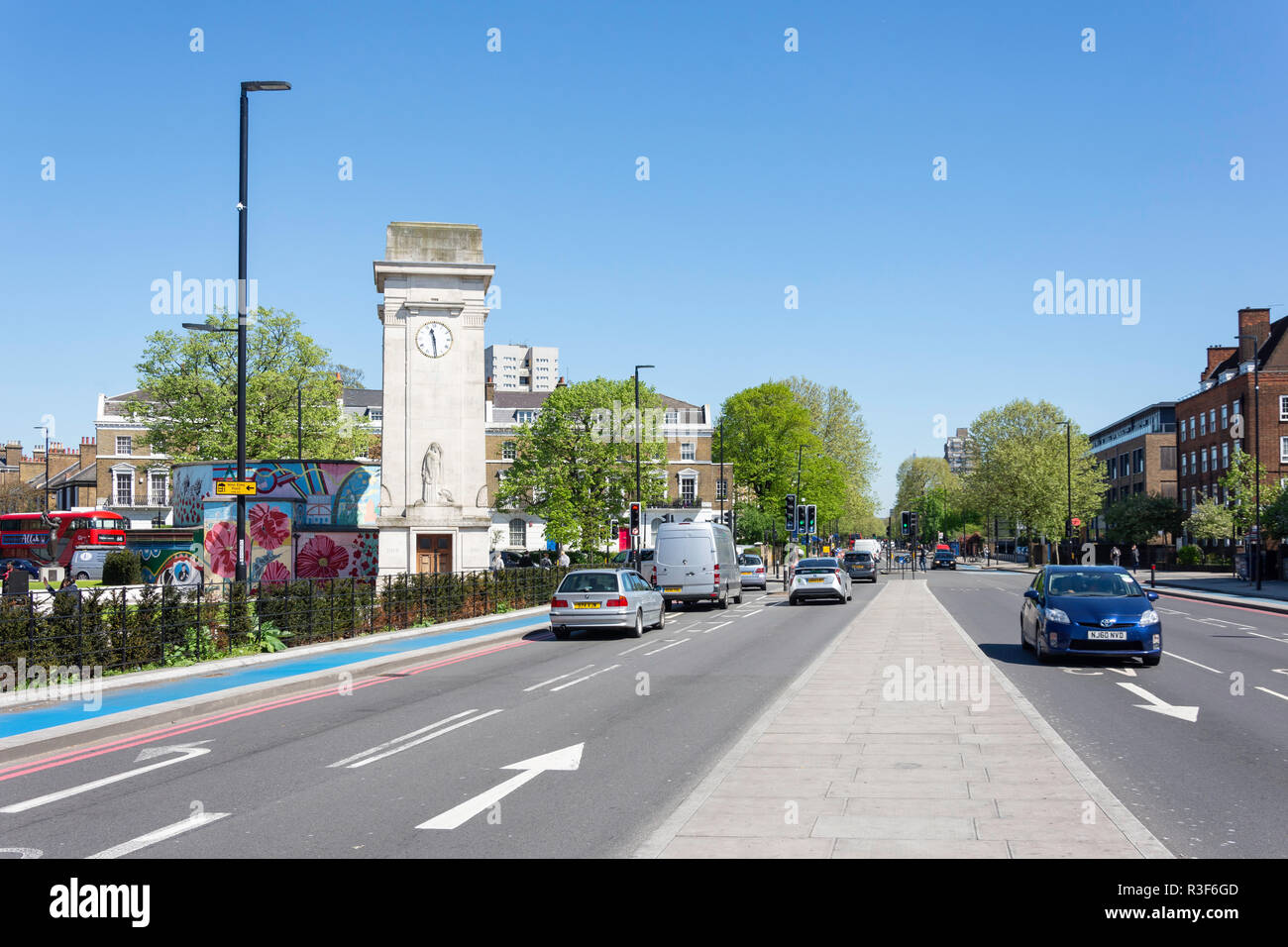 Stockwell War Memorial Clocktower, Clapham Road, Stockwell, London Borough of Lambeth, Greater London, England, United Kingdom - Stock Image