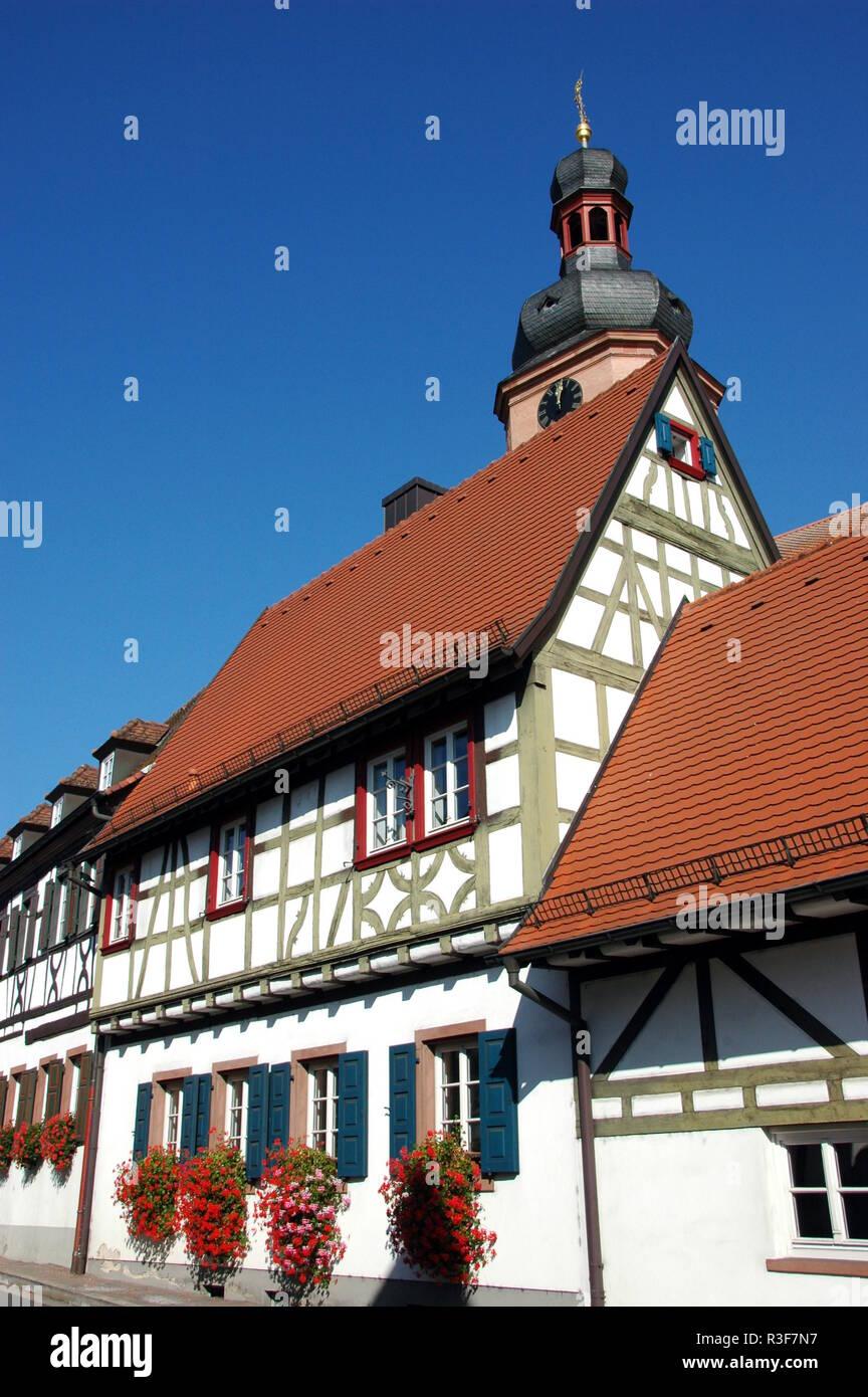 half-timbered houses in rheinzabern / pfalz Stock Photo