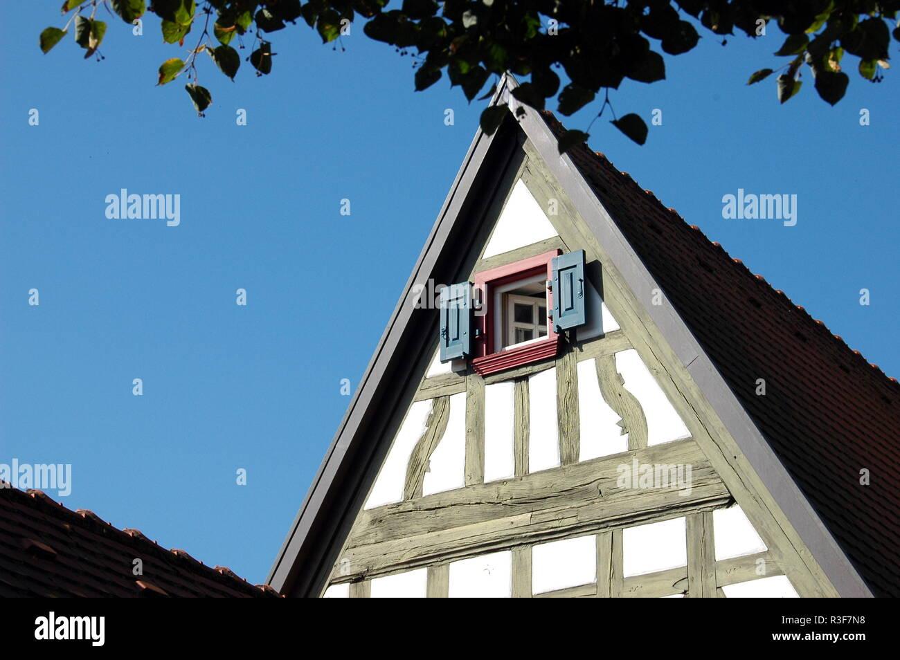 gable of small cultural center in rheinzabern Stock Photo