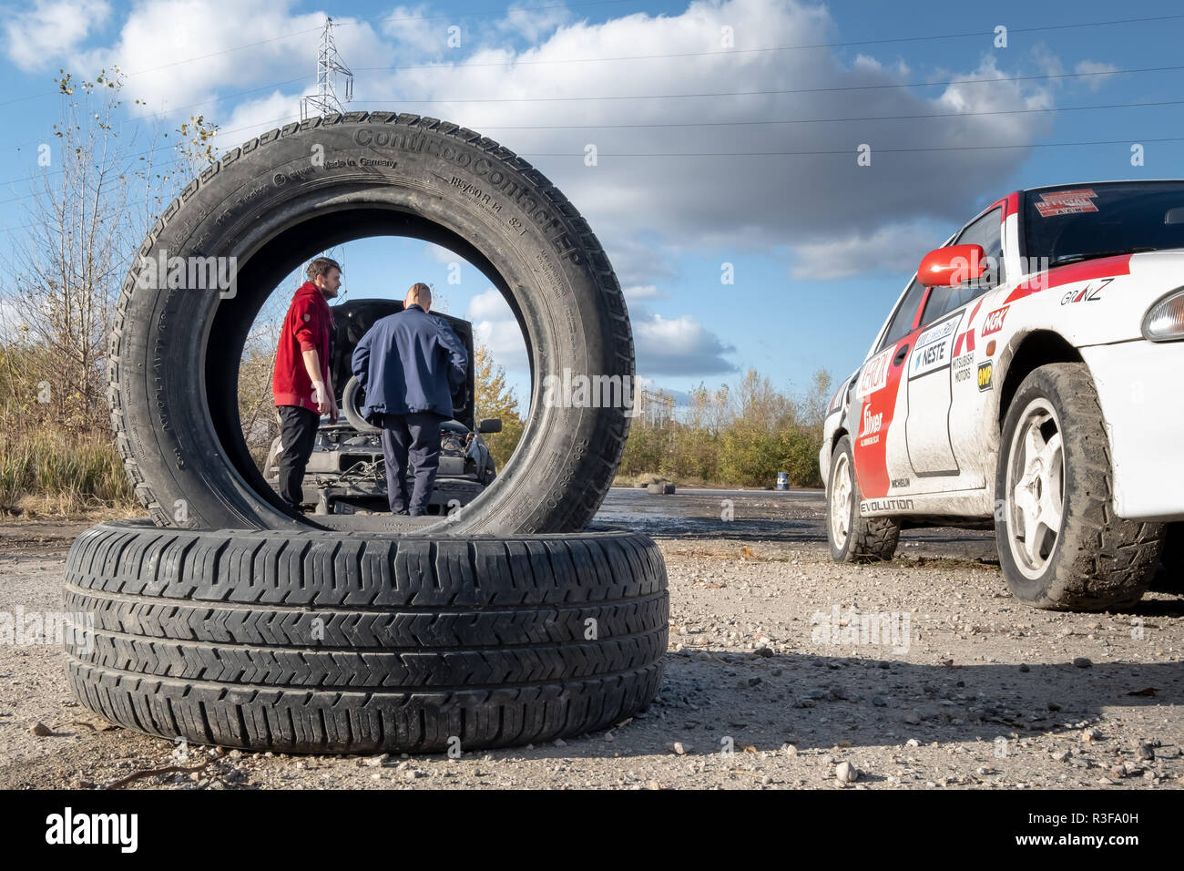 Warsaw / Poland - October 21, 2018: broken car during amateur drifting event in Ursus, abandoned tractor factory in Warsaw outskirts - Stock Image