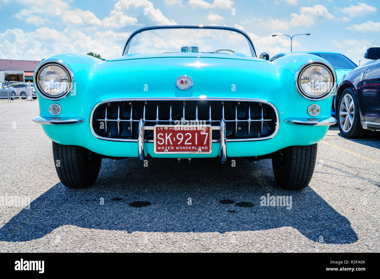 Detroit, Michigan, August 19, 2016: 1957 Corvette at Woodward Dream Cruise - largest one-day automotive event in USA - Stock Image