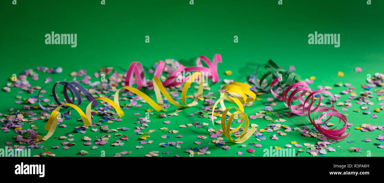 Carnival or birthday party  Confetti and serpentines on