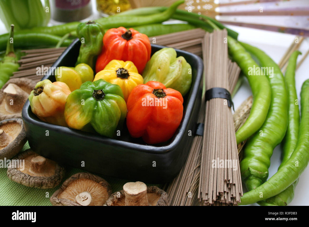vegetables and noodles - Stock Image