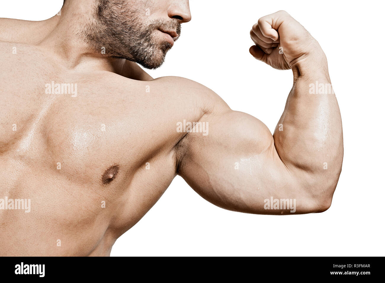 biceps of a bodybuilder - Stock Image