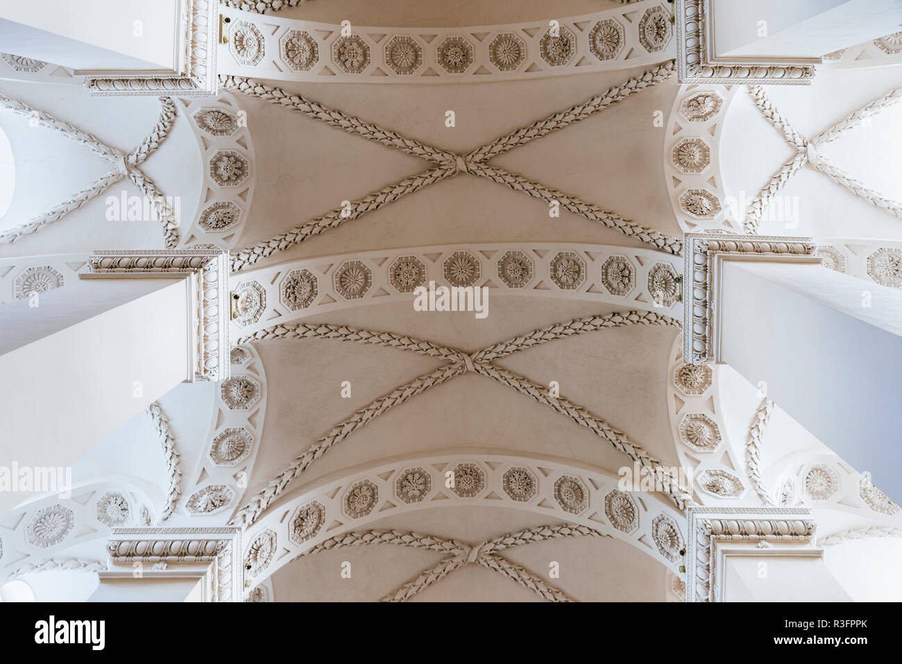 Ceiling, Cathedral Basilica of St Stanislaus and St Ladislaus of Vilnius is the main Roman Catholic Cathedral of Lithuania.Vilnius, Vilnius County, Li - Stock Image