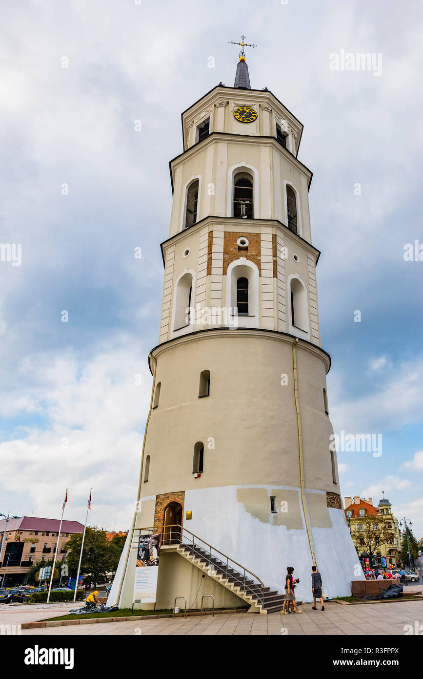 Bell tower of the cathedral. Cathedral Basilica of St Stanislaus and St Ladislaus of Vilnius is the main Roman Catholic Cathedral of Lithuania.Vilnius - Stock Image
