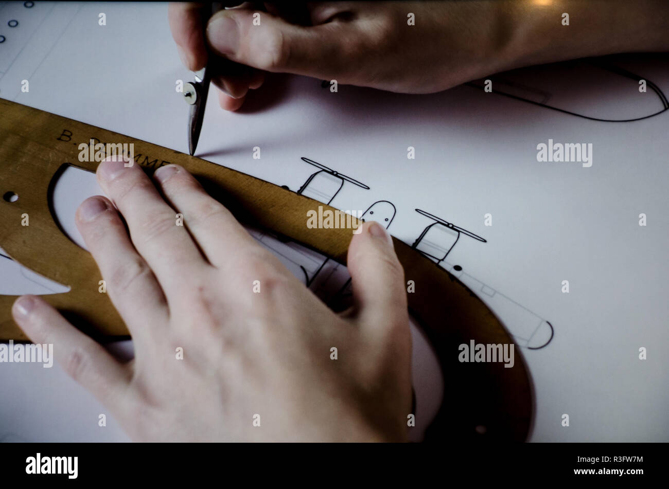 Aircraft Mechanical Drawing by Hand - Stock Image