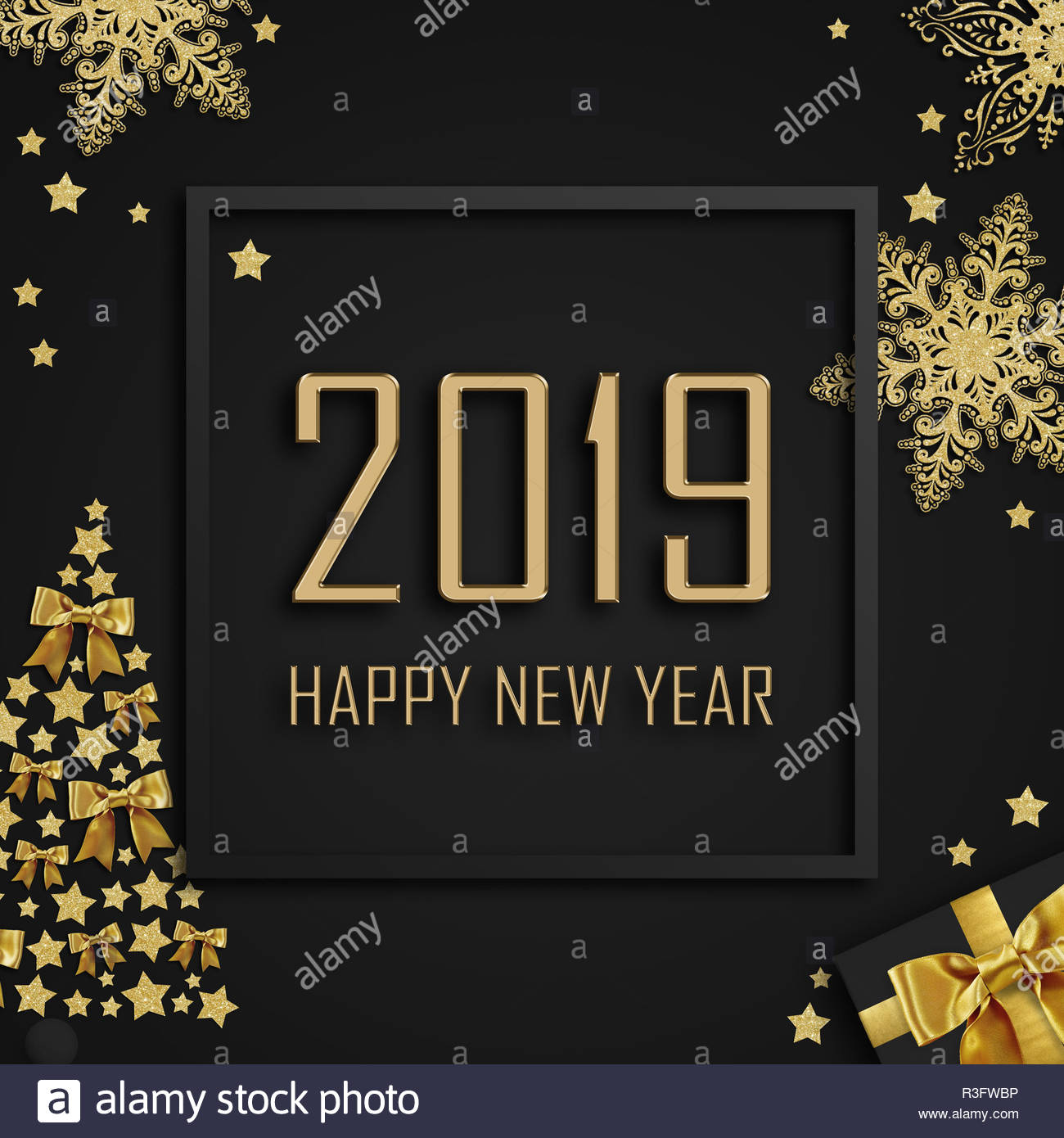 2019 happy new year lettering with frame golden stars present tree and snowflakes on dark background