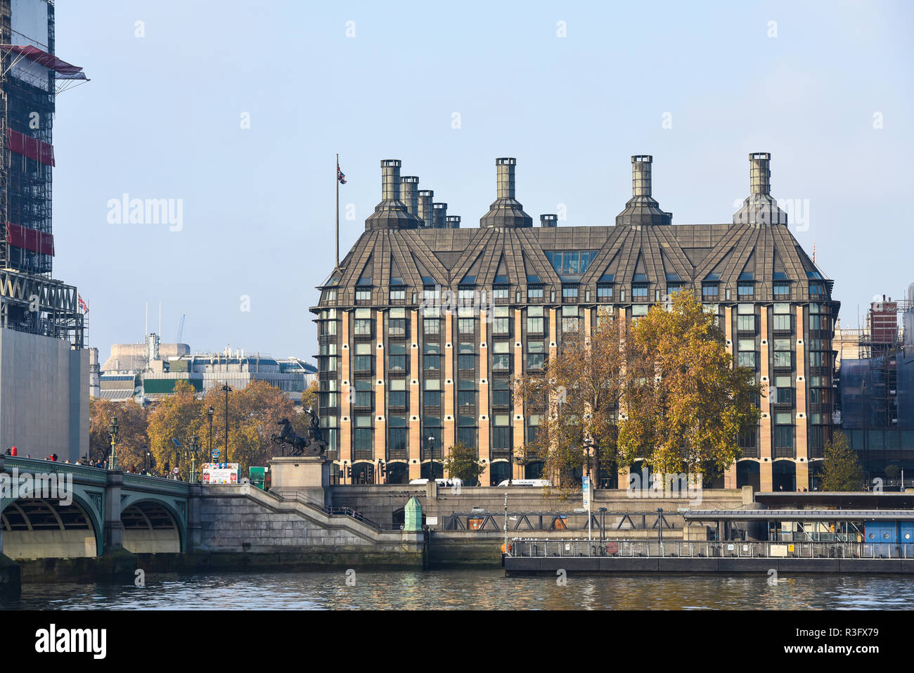 Portcullis House (PCH) is an office building in Westminster, London, UK, opened in 2001 to provide offices for 213 members of Parliament. Embankment - Stock Image