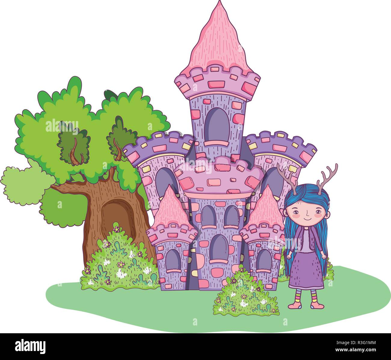 cute little fairy with castle in the landscape Stock Vector