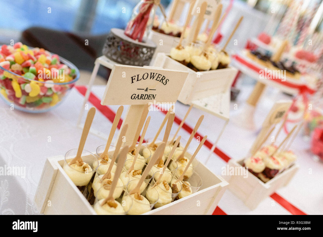 Wedding deserts in candy bar Stock Photo