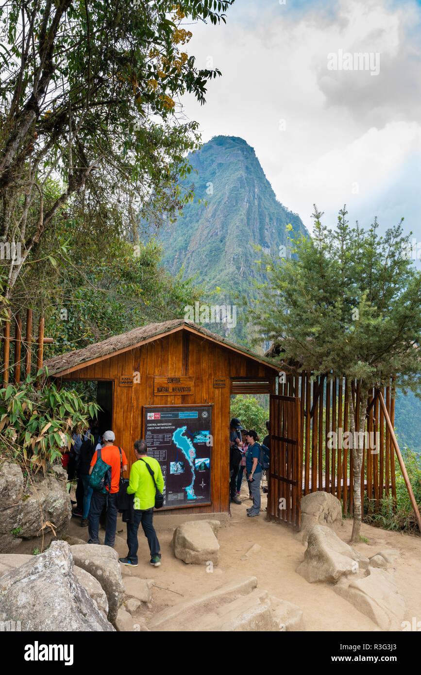 Tourist hiking up Huayna Picchu at Machu Picchu - Stock Image