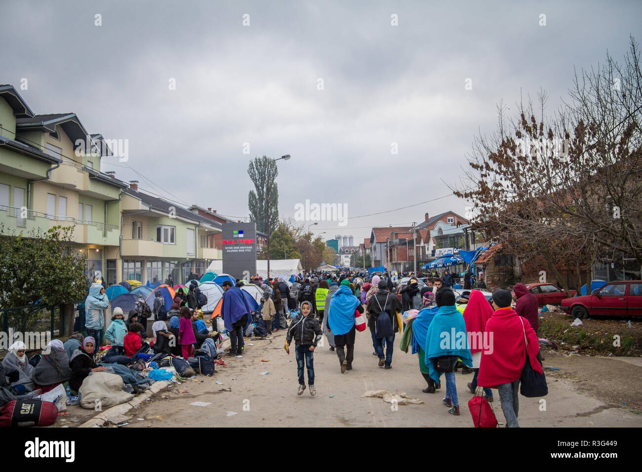 BAPSKA, CROATIA - OCTOBER 24, 2015: Crowd of refugees waiting to register and enter Serbia at the border with Macedonia on Balkans Route, during  Refu - Stock Image