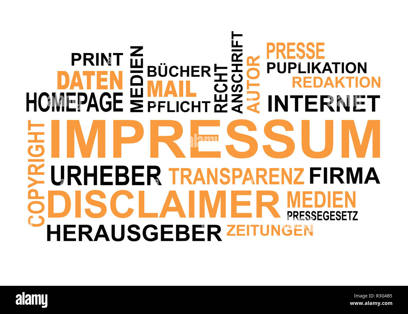 Wordcloud german words on the topic of impressum and press - Stock Image