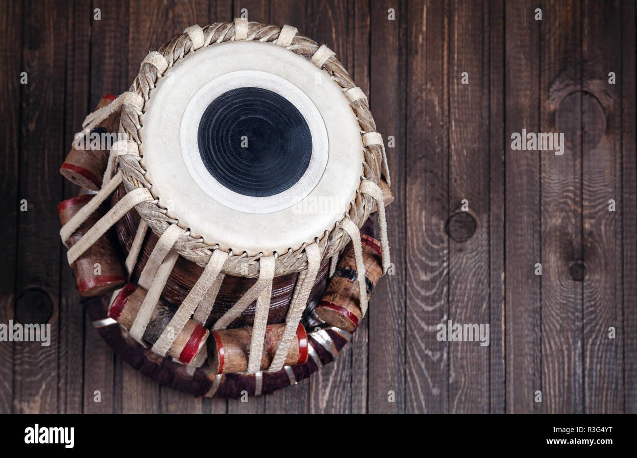 Tabla drum Indian classical music instrument close up - Stock Image