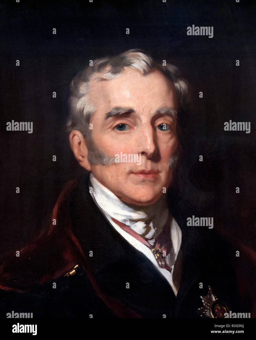 Duke of Wellington, portrait by John Lucas, oil on canvas, 1839. Detail from a larger painting, R3G5NA - Stock Image