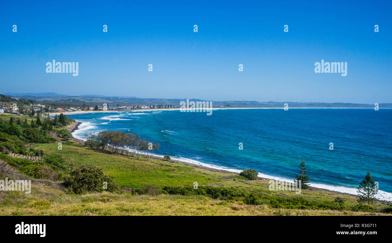 view of Lennox Head and Seven Mile Beach from Pat Morton Lookout, Lennox Point, north of Ballina, Northern Rivers region, New South Wales, Australia - Stock Image