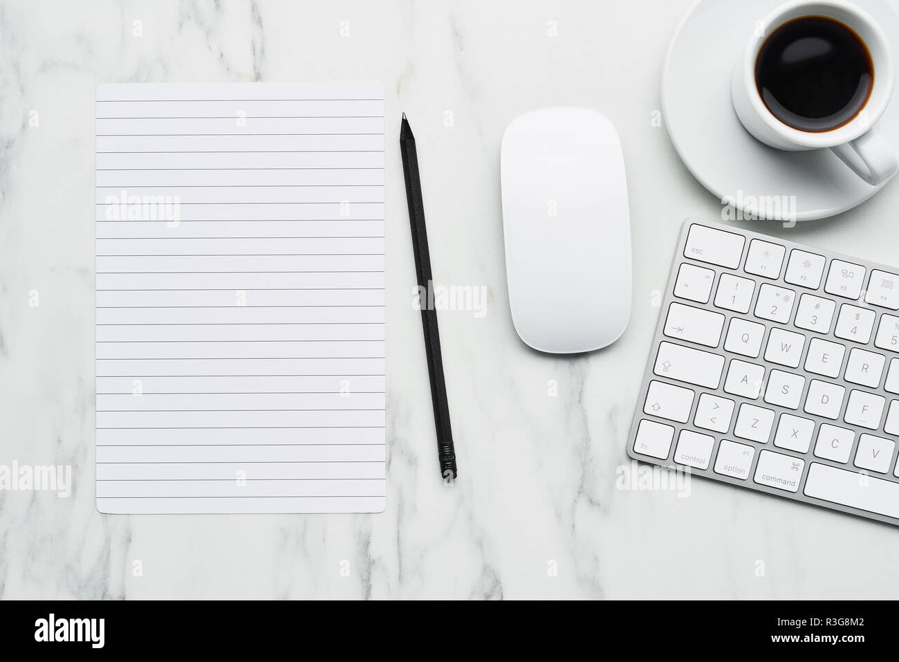 Business Composition With White Computer Keyboard Mouse Coffee Cup Paper And Pencil On White Marble Background Coffee Break Concept Top View Wit Stock Photo Alamy
