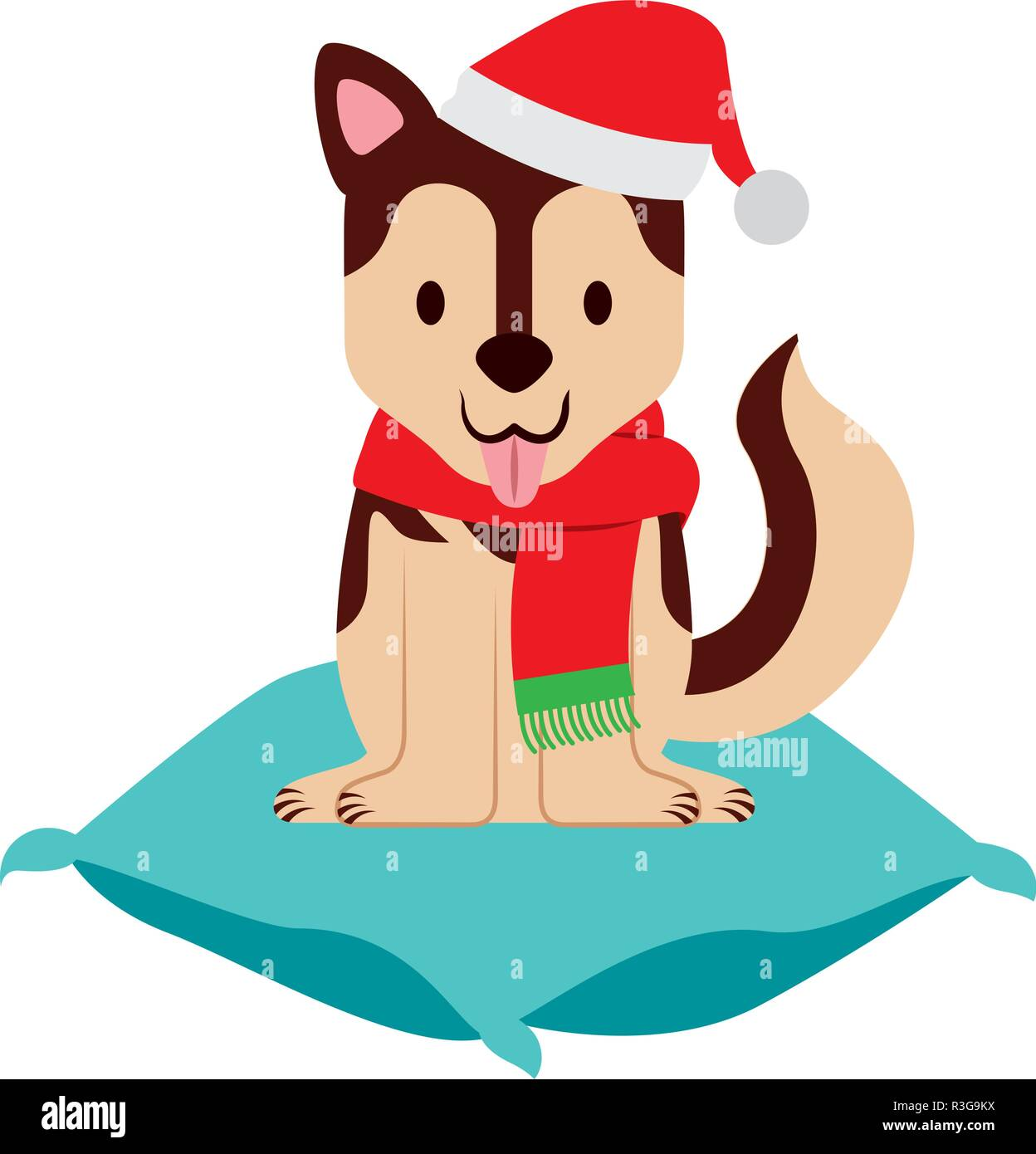 dog with hat on cushion merry christmas Stock Vector