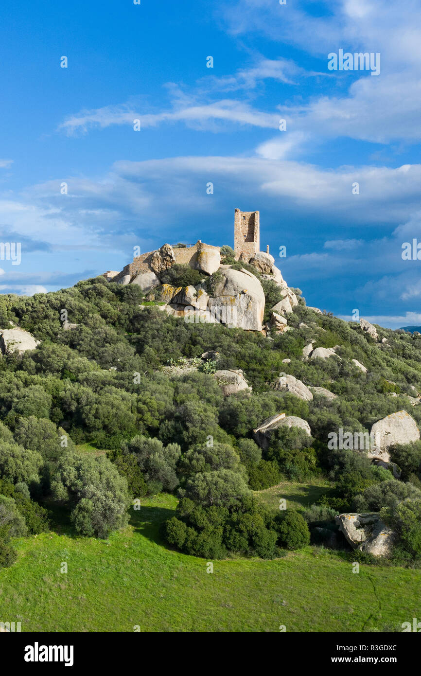 Aerial view of the castle of Pedres in Olbia, Sardinia. The castle of Pedres (Castello di Pedres), characterizing all parts of the Southern basin of O - Stock Image