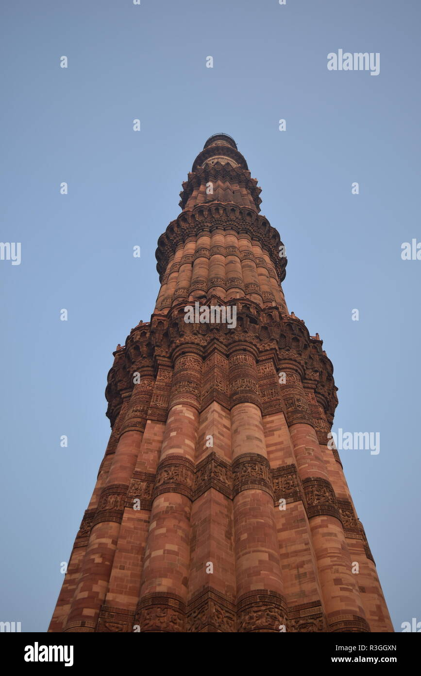 Qutub minar - precolonial building in Delhi, India constructed in 1193 - Stock Image
