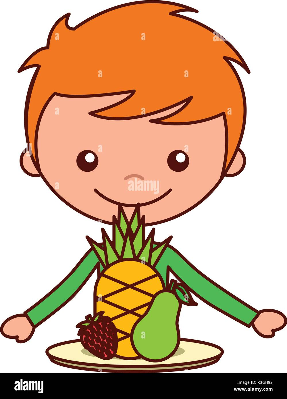 boy with pineapple pear and strawberry - Stock Vector