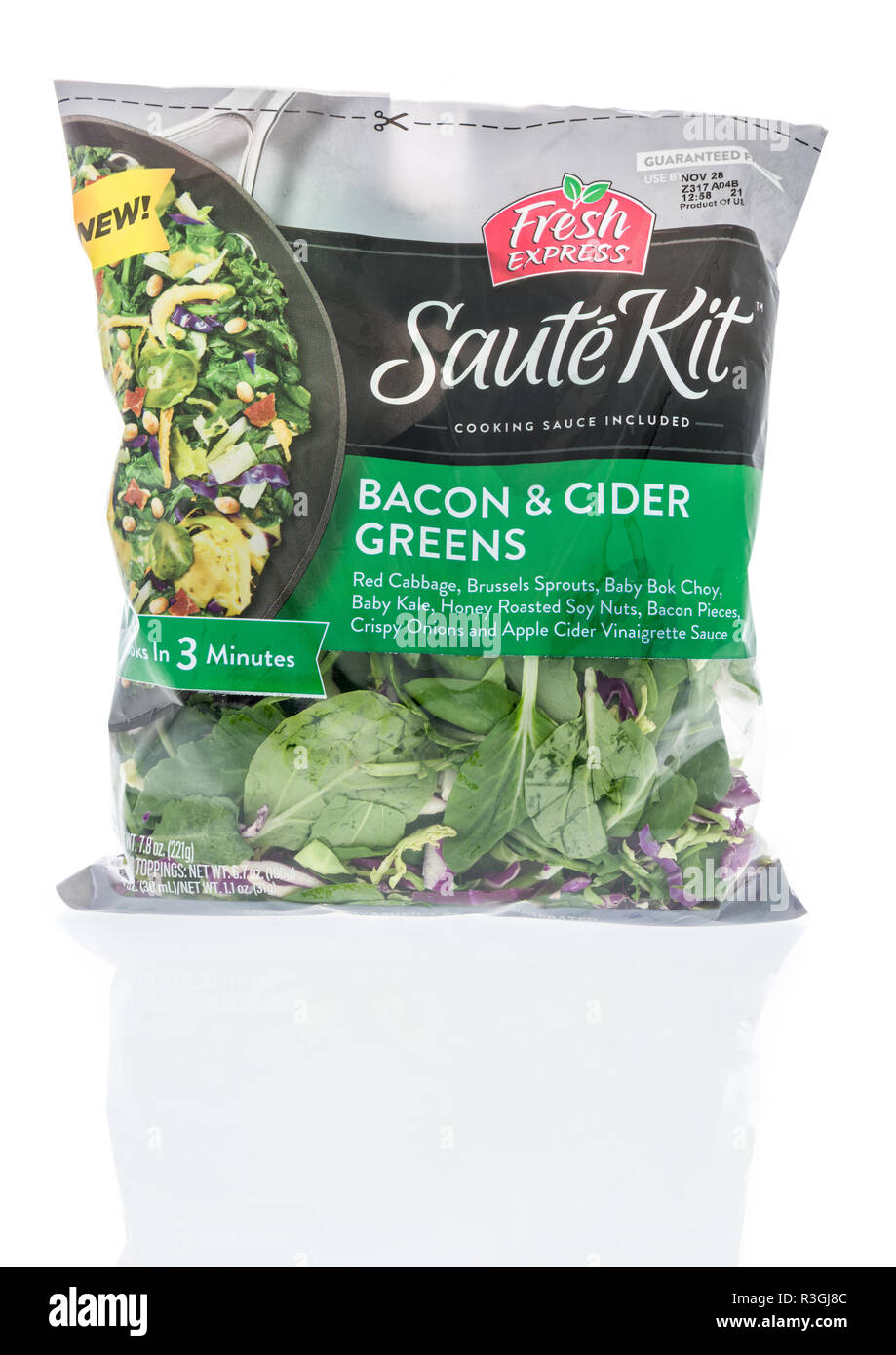 Winneconne, WI - 21 November 2018: A package of Fresh Express Saute Kit bacon and cider greens on an isolated background. - Stock Image