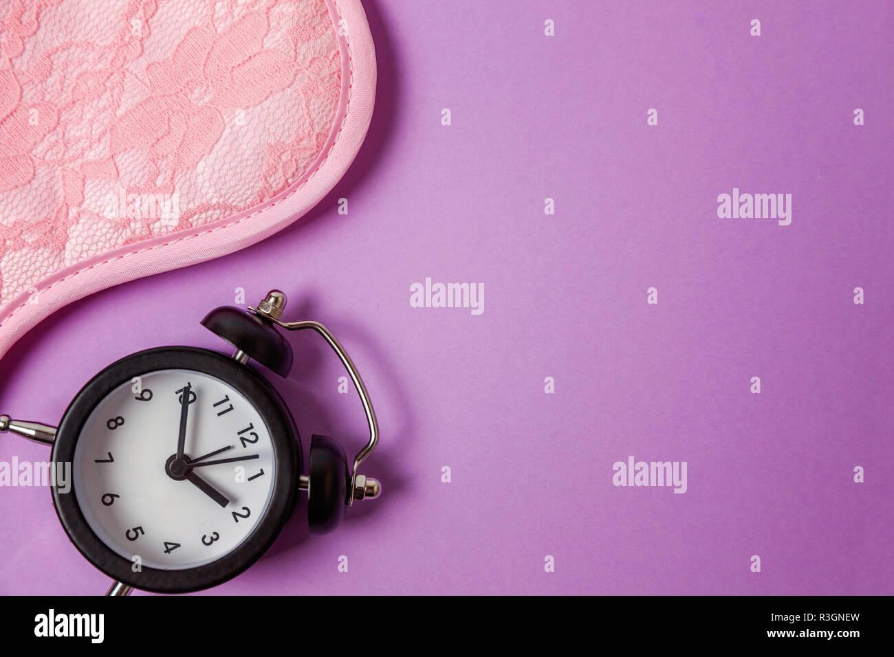 Sleeping Eye Mask Alarm Clock Isolated On Purple Violet Pastel Colourful Trendy Background Do Not Disturb Me Let Me Sleep Rest Good Night Siesta Stock Photo Alamy