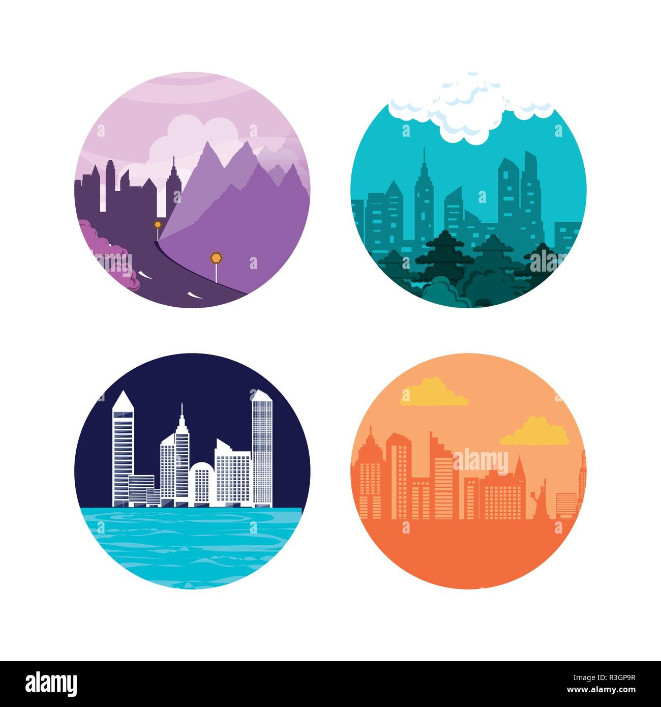 set cityscapes with buildings icon vector illustration design - Stock Image