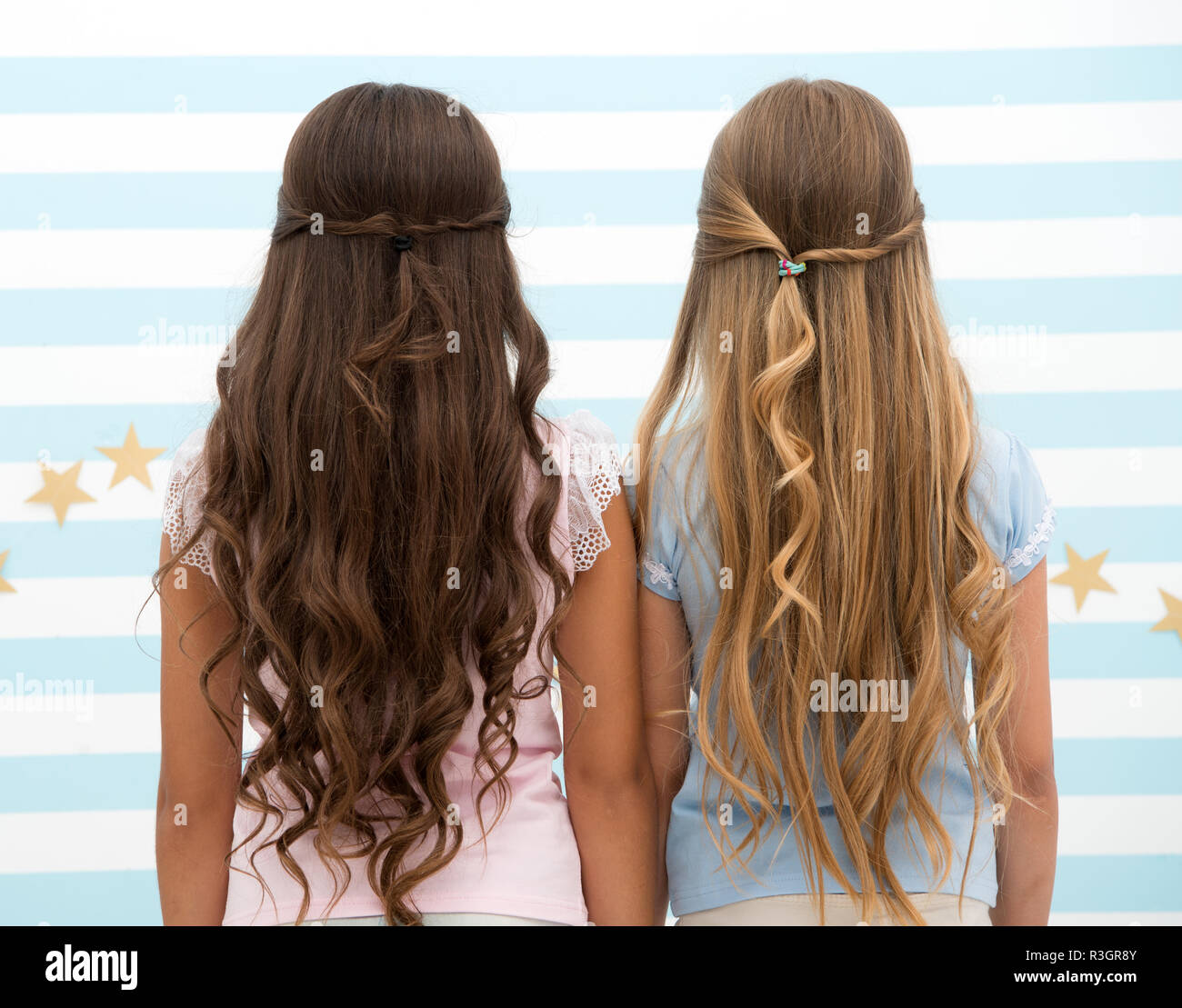 Hairdresser Salon Services Two Little Girls Kids With Long Hair At Hairdresser Little Girls With Long Curly Hair Long And Healthy Hair Kertatine M Stock Photo Alamy