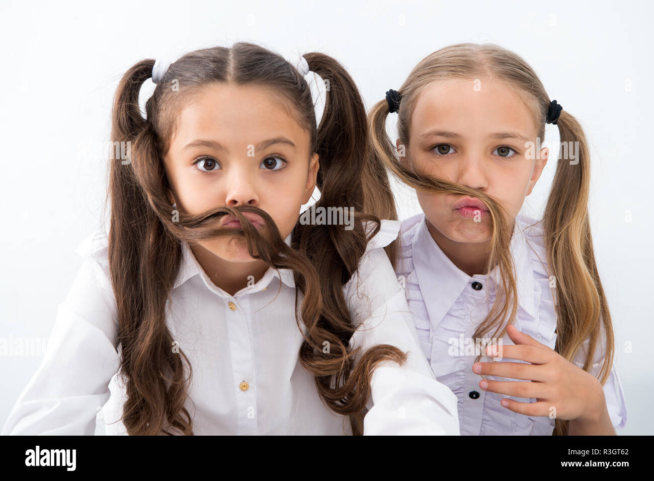 Little Girls Make Mustache With Long Hair Hairstyle Concept Little