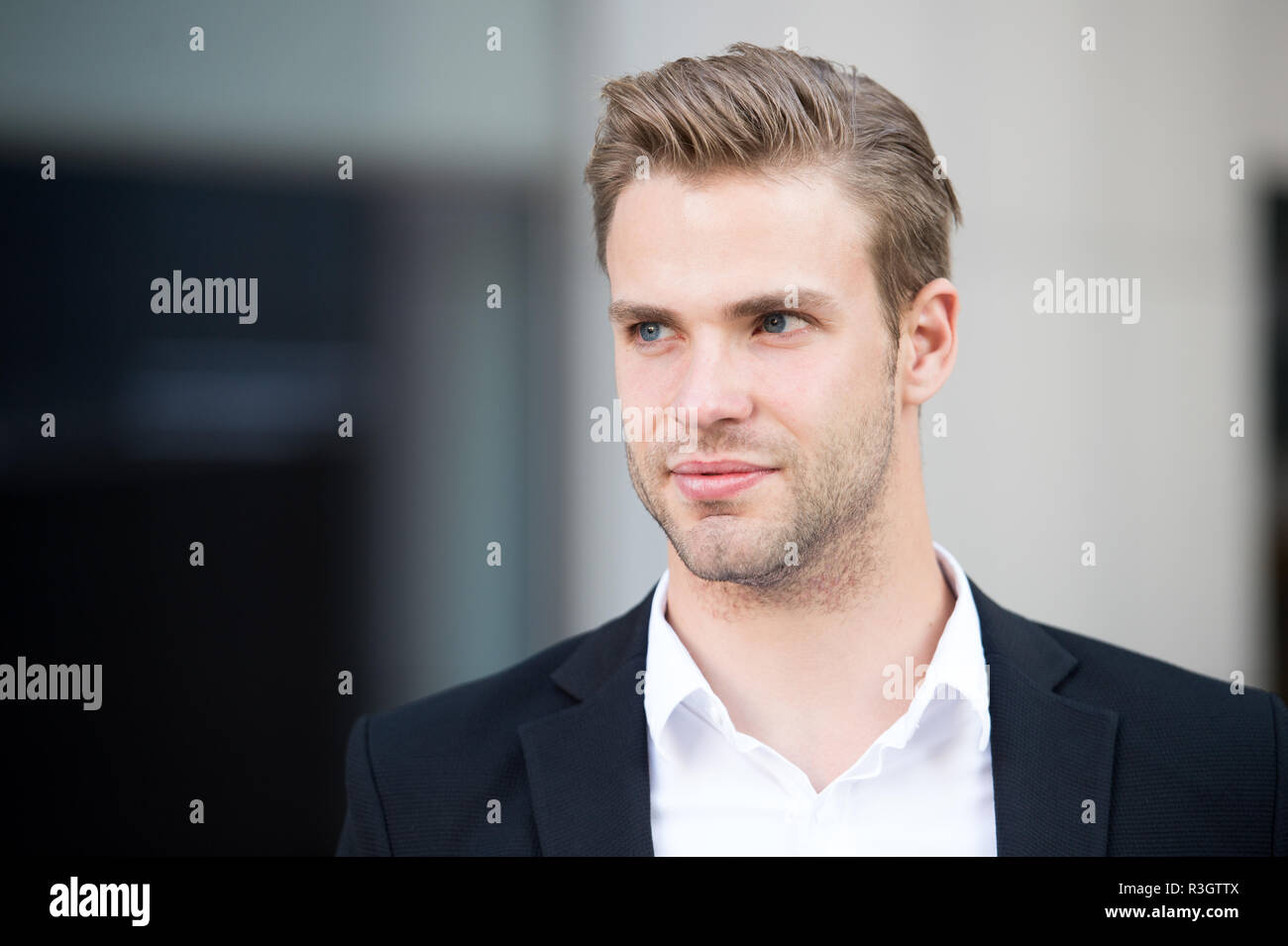 Man with trendy hairstyle. Used to look perfect. Confident buisnessman in formal wear. This is my city. Think about new possibilities. Barber services - Stock Image