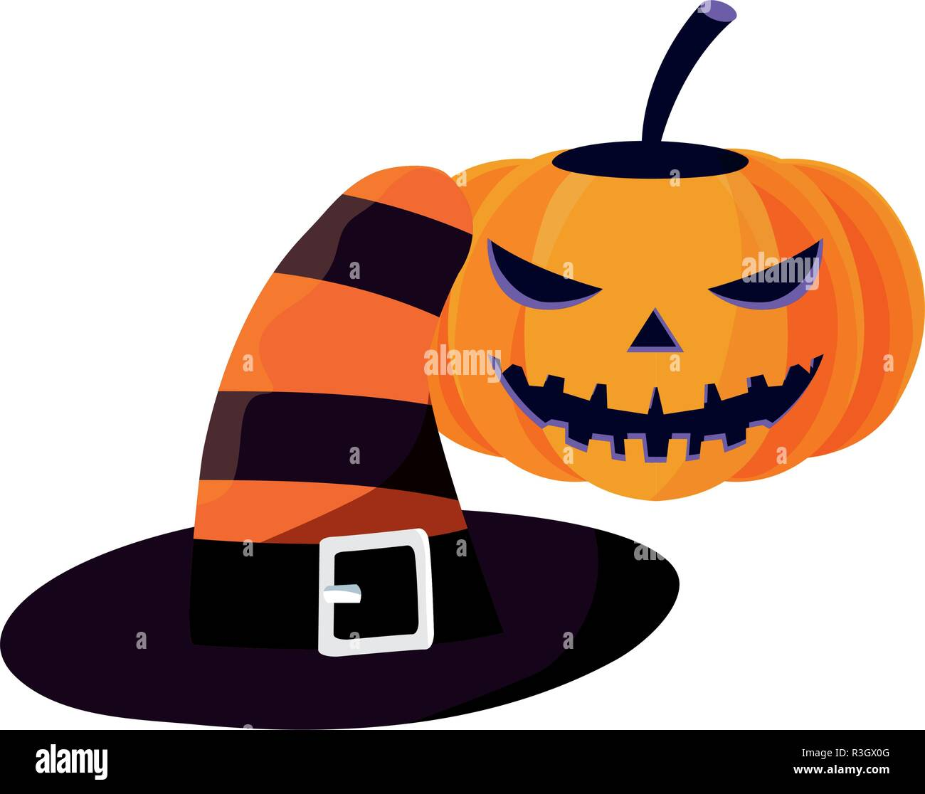 halloween pumpkins and hat costumevector illustration - Stock Vector