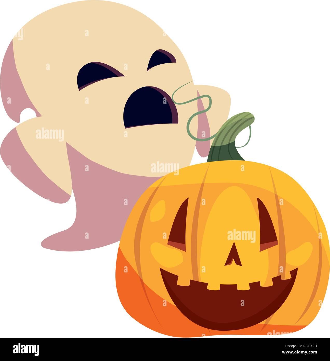 Halloween Pumpkin Vector Art.Halloween Ghost With Pumpkin Vector Illustration Stock
