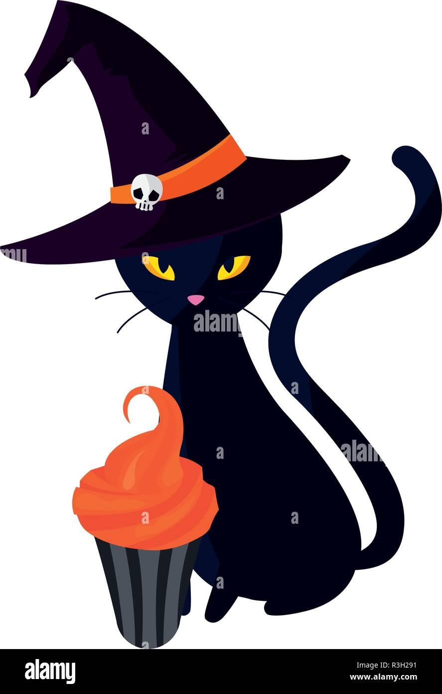 da6289c0 black cat with hat and cupcake halloween celebration vector illustration