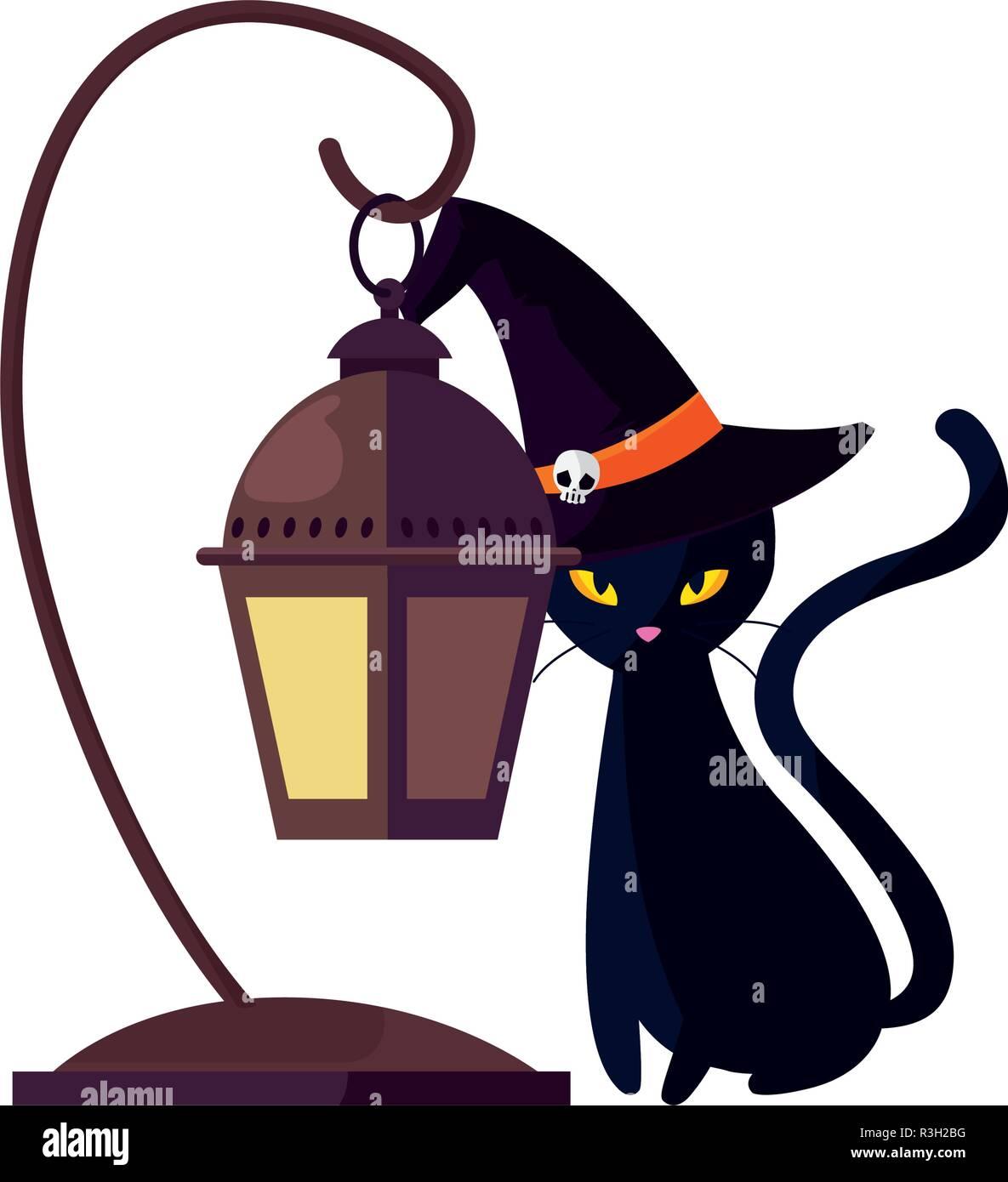black cat and lantern halloween celebration vector illustration - Stock Image