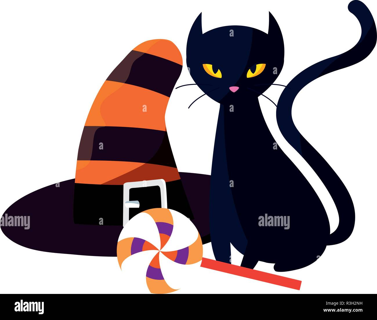 1083817b black cat hat and lollipop halloween celebration vector illustration ...