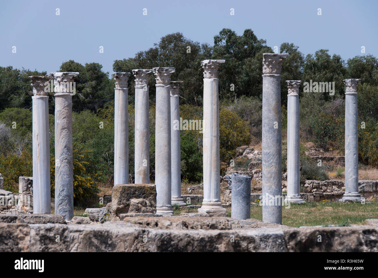 Salamis, North Cyprus. View of the ancient gymnasium Stock Photo