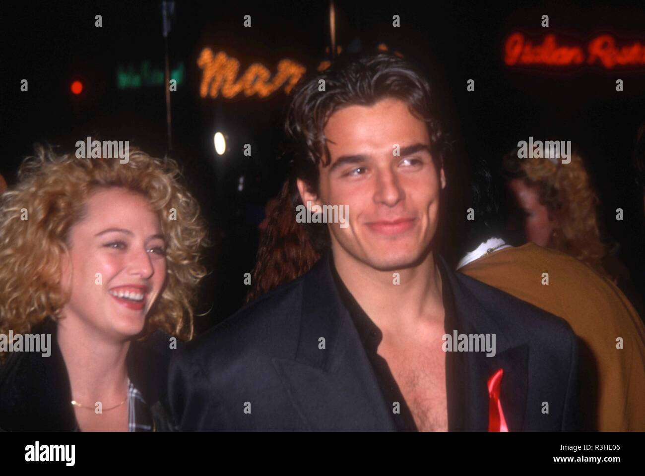 WESTWOOD, CA - FEBRUARY 4: Actress Virginia Madsen and actor Antonio Sabato Jr. attend Columbia Pictures' 'Groundhog Day' Premiere on February 4, 1993 at Mann Village Theatre in Westwood, California. Photo by Barry King/Alamy Stock Photo - Stock Image