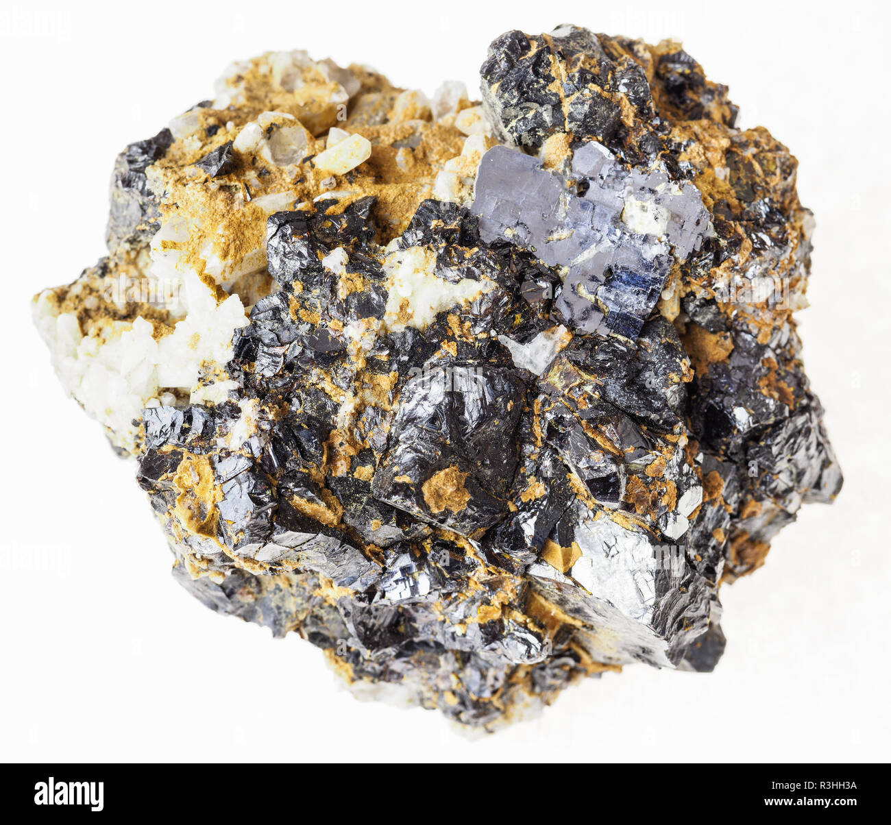 macro photography of natural mineral from geological collection - sphalerite and galena ore on raw stone on white background - Stock Image