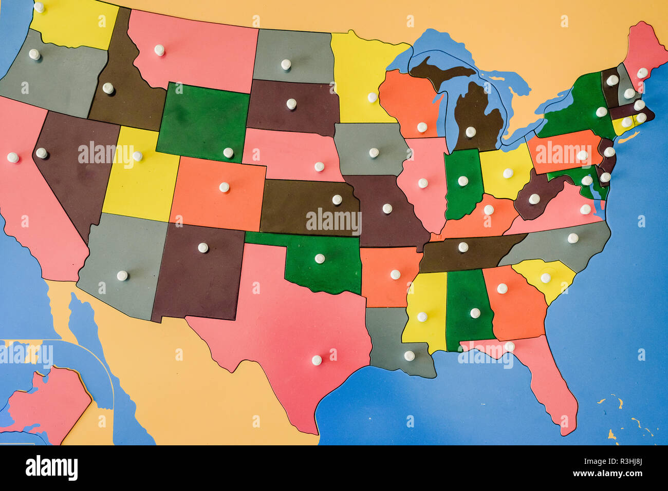 Image of: Puzzle With Map Of The States Of The United States Of America In A Montessori Classroom Stock Photo Alamy
