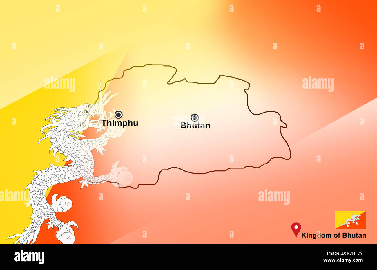 Map Of Asia Bhutan.Bhutan Map And Thimphu With Location Map Pin And Bhutan Flag On