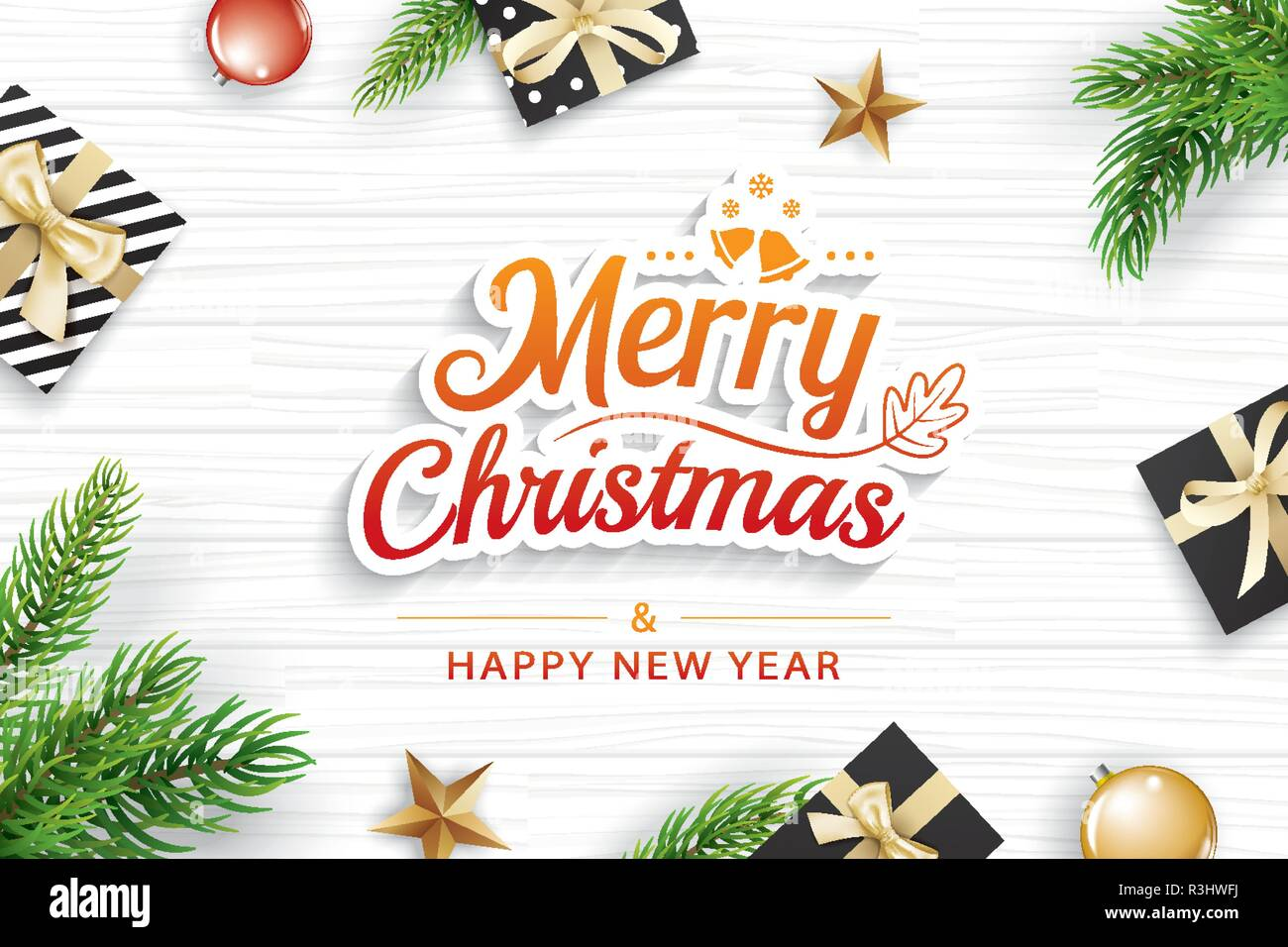 Christmas greeting card with fir branch on white wooden background. Vector illustration happy new year. Use for banner, poster. - Stock Vector