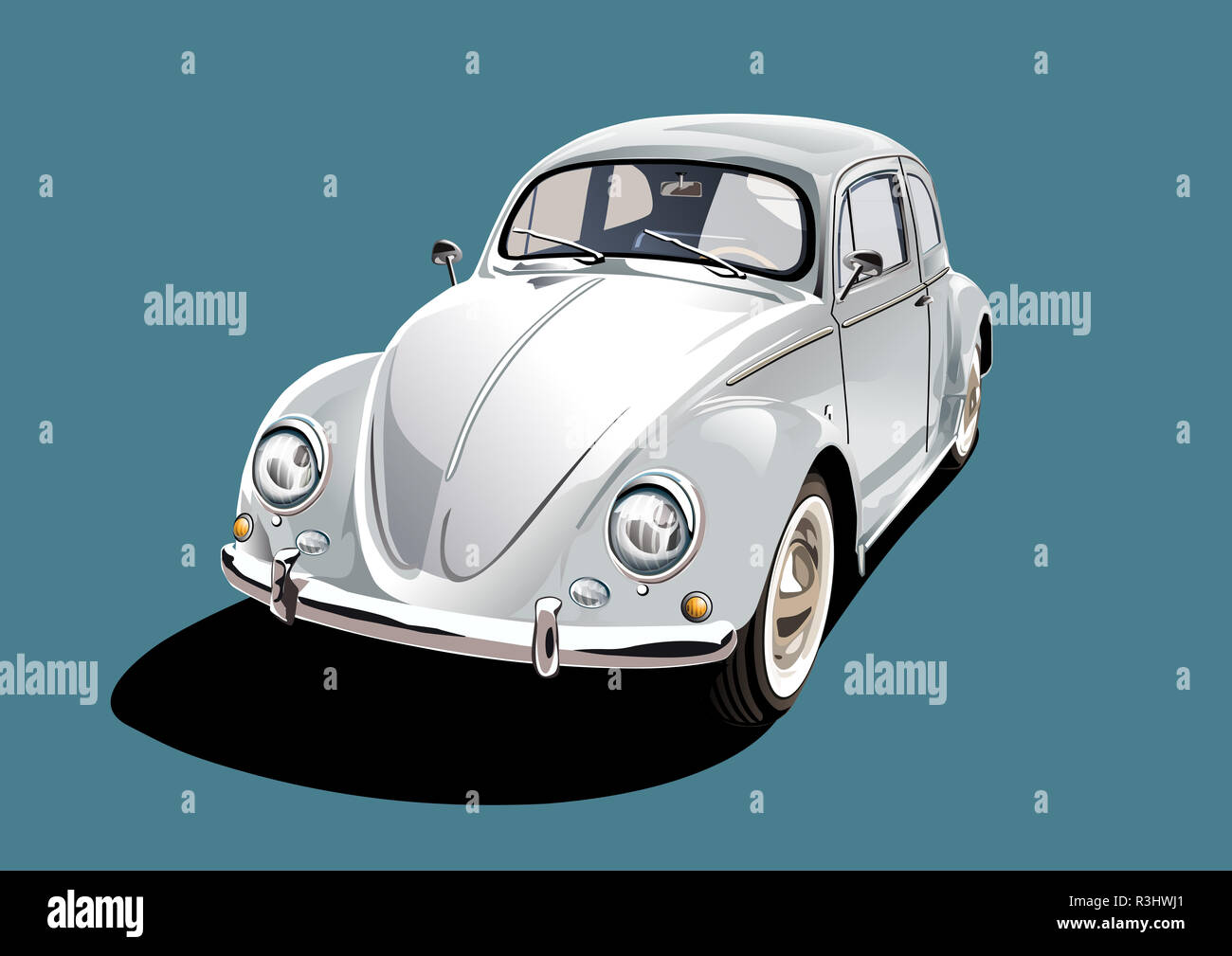 white classic car - Stock Image